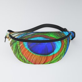 BLUE PEACOCK EYE FEATHER DESIGN Fanny Pack