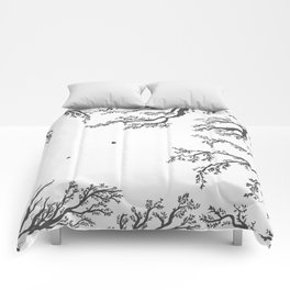 tree branches with birds and leaves on a light background Comforters