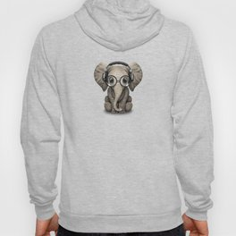 Cute Baby Elephant Dj Wearing Headphones and Glasses on Red Hoody