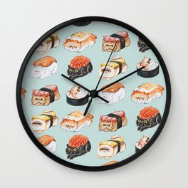 Sushi Persian Cat Watercolor Wall Clock