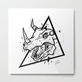 Greymon Handmade Drawing, Made in pencil and ink, Tattoo Sketch, Tattoo Flash, Blackwork Metal Print
