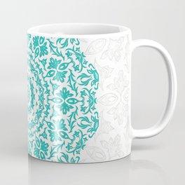 Bohemian Glittering Floral Mandala Aquamarine Coffee Mug