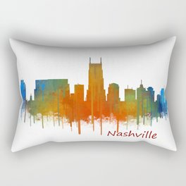 nashville city skyline Tennessee watercolor v2 Rectangular Pillow