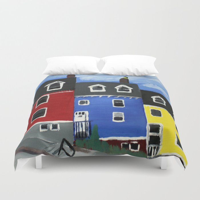 Newfoundland Houses Canada acrylics on canvas Duvet Cover