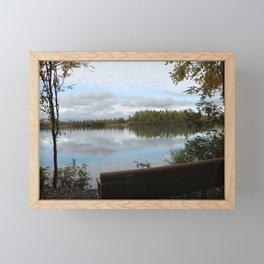 Bench by the Lake Framed Mini Art Print