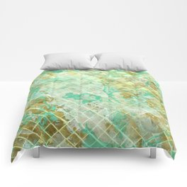 Turquoise & Gold marble mosaic Comforters