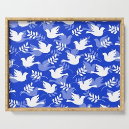 Hanukkah Doves Of Peace Pattern With Olive Branches Serving Tray