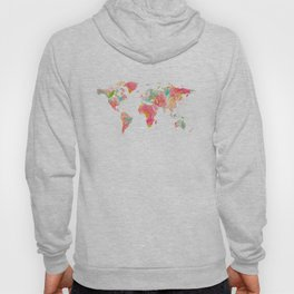 world map pink floral watercolor Hoody