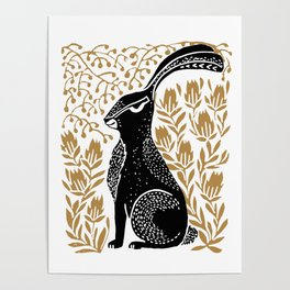 Poise - linocut rabbit with flowers botanical art print, rabbit art print, linocut art print Poster