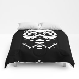old skinny skull and bone with glasses in black and white Comforters