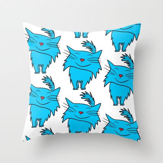 Happy Blue Cat Throw Pillow