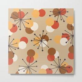 Atomic Age Molecules Starbursts Brown Orange Metal Print