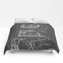 Firemans Helmet Patent - Fire Fighter Art - Black Chalkboard Comforters