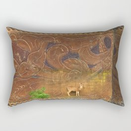 Deer Sheltering in the Storm Rectangular Pillow