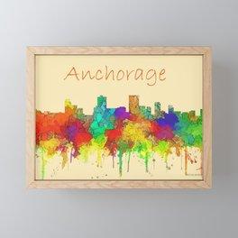 Anchorage city skyline watercolor Framed Mini Art Print