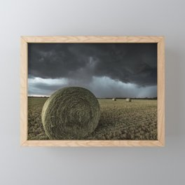 Fade Away - Round Hay Bales in Storm in Oklahoma Framed Mini Art Print