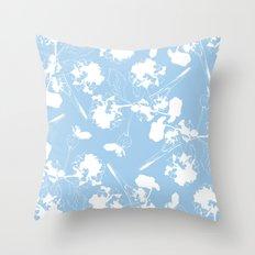 Hydranga pattern  - blue and white Throw Pillow