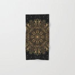 MANDALA IN BLACK AND GOLD Hand & Bath Towel