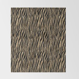 Black & Gold Glitter Animal Print Throw Blanket