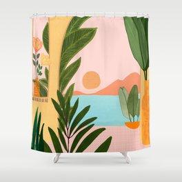 Moroccan Coast - Tropical Sunset Scene Shower Curtain