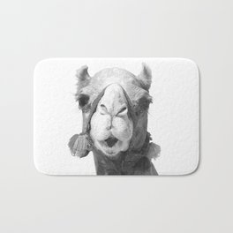 Black and White Camel Portrait Bath Mat
