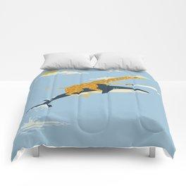 Giraffe riding shark Comforters