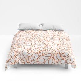 Doodle Line Art   Persimmon / Burnt Orange Lines on White Background Comforters