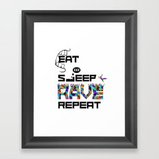 Eat Sleep RAVE Repeat Framed Art Print