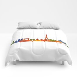 Paris City Skyline Hq v1 Comforters