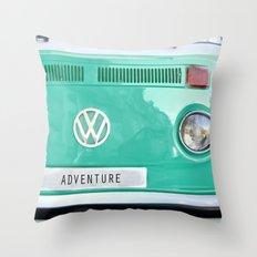 Adventure wolkswagen. Summer dreams. Green Throw Pillow