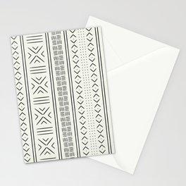onyx on bone mud cloth Stationery Cards