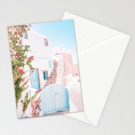 Santorini Greece Mamma Mia Pink House Travel Photography Stationery Cards