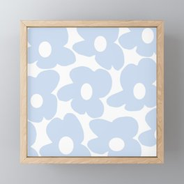 Large Baby Blue Retro Flowers White Background #decor #society6 #buyart Framed Mini Art Print
