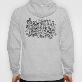 Black and White Line Drawing Faces Hoody