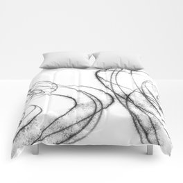 Minimalist Abstract Line Drawing in Black and White Comforters