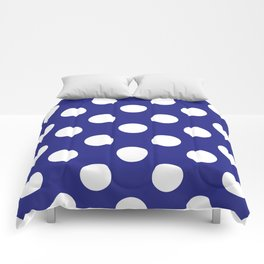 Geometric Candy Dot Circles - White on Navy Blue Comforters