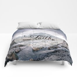 Have Faith Inspirational Typography Over Mountain Comforters