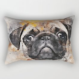 Pug Puppy Using Watercolor On Raw Canvas Rectangular Pillow