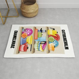 Cathrineholm Pottery Displayed On Kitchen Shelves Print Rug