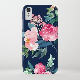 Navy and Pink Watercolor Peony iPhone Case