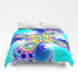 """Chaos Of Light"" Spiral Fractal Art Print Comforters"