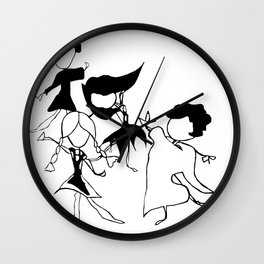 World Dancers 2 - Black and White Wall Clock