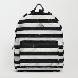 Marble Stripes Pattern - Black and White Backpack