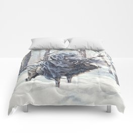Wizard Riding an Elk in the Snow Comforters