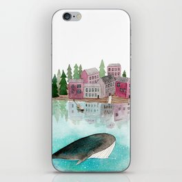 A whale is passing by iPhone Skin
