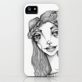 JennyMannoArt Graphite Illustration/Beach Sprite iPhone Case