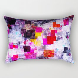 vintage psychedelic geometric square pixel pattern abstract in pink red blue purple Rectangular Pillow