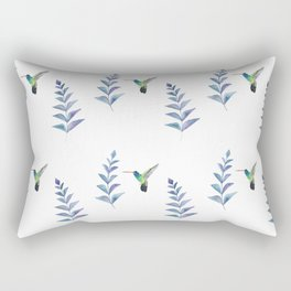 Hummingbird with tropical leaves watercolor pattern Rectangular Pillow