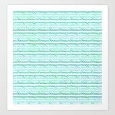 chevron blue&green Art Print