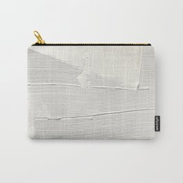 Relief [1]: an abstract, textured piece in white by Alyssa Hamilton Art Carry-All Pouch